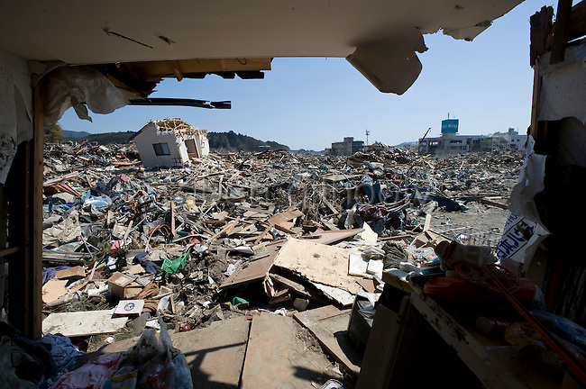 Photo shows the view from the home of retired electrician Katsunori Sasaki, which was moved around 700 meters from its original locationin the tsunami-wrecked city of Rikuzentakata, Iwate Prefecture, Japan on 05 April, 2011. .Photographer: Robert Gilhooly