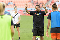 Houston, TX - Wednesday June 28, 2017: Houston Dash interim Head Coach, Omar Morales watching warmups during a regular season National Women's Soccer League (NWSL) match between the Houston Dash and the Boston Breakers at BBVA Compass Stadium.