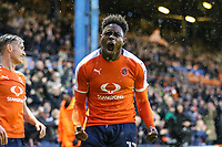 Pelly Ruddock Mpanzu of Luton Town celebrates after his team score their second goal of the game to make the score 2-1 on the night during the Sky Bet League 2 Play Off Semi Final 2 leg match between Luton Town and Blackpool at Kenilworth Road, Luton, England on 18 May 2017. Photo by David Horn.