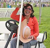 Winterthur race director Jill Abbott after a golf cart race down the stretch.