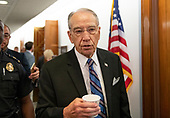 United States Senator Chuck Grassley (Republican of Iowa), Chairman, US Senate Committee on the Judiciary departs the hearing room during a break in the testimony before the United States Senate Committee on the Judiciary as Judge Brett Kavanaugh attempts to refute the testimony of Dr. Christine Blasey Ford on his nomination to be Associate Justice of the US Supreme Court to replace the retiring Justice Anthony Kennedy on Capitol Hill in Washington, DC on Thursday, September 27, 2018.<br /> Credit: Ron Sachs / CNP<br /> (RESTRICTION: NO New York or New Jersey Newspapers or newspapers within a 75 mile radius of New York City)