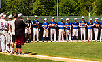 WATERBURY,  CT-072519JS11--Players from the Wolcott Storm, right, and South Troy (NY) Dodgers, line up for the National Anthem during their Mickey Mantle World Series game Thursday at Municipal Stadium in Waterbury. <br />  Jim Shannon Republican-American