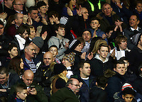 Swansea City fans during the Barclays Premier League match between Manchester United and Swansea City played at Old Trafford, Manchester on January 2nd 2016