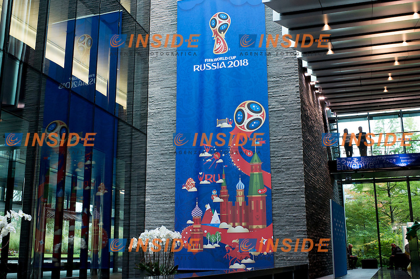 Zurigo 14-10-2016  Football FIFA - Council meeting; A poster announcing the 2018 Football World Cup in Russia is displayed at the FIFA headquarters  in Zurich<br />  Foto Steffen Schmidt/freshfocus/Insidefoto ITALY ONLY