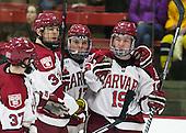 Brian Hart (Harvard - 39), Sean Malone (Harvard - 17), Jimmy Vesey (Harvard - 19) - The Harvard University Crimson defeated the Princeton University Tigers 3-2 on Friday, January 31, 2014, at the Bright-Landry Hockey Center in Cambridge, Massachusetts.