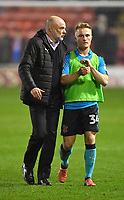 Fleetwood Town's Manager Uwe Rosler talks to Kyle Dempsey<br /> <br /> Photographer Dave Howarth/CameraSport<br /> <br /> The EFL Sky Bet League One - Walsall v Fleetwood Town - Tuesday 14th March 2017 - Banks's Stadium - Walsall<br /> <br /> World Copyright &copy; 2017 CameraSport. All rights reserved. 43 Linden Ave. Countesthorpe. Leicester. England. LE8 5PG - Tel: +44 (0) 116 277 4147 - admin@camerasport.com - www.camerasport.com