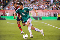 Hector Moreno (15) of Mexico. The men's national teams of the United States (USA) and Mexico (MEX) played to a 1-1 tie during an international friendly at Lincoln Financial Field in Philadelphia, PA, on August 10, 2011.