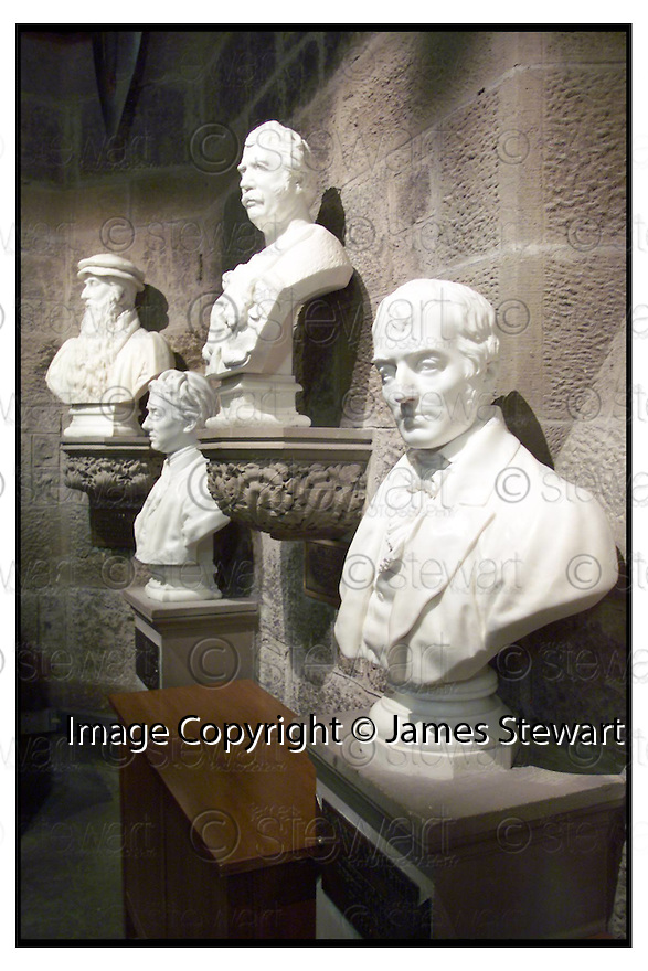 17th April 2000         Copyright Pic : James Stewart .Ref :                           .File Name : stewart04-wallaces monument                        .THE BUSTS OF JOHN KNOX, ALAN RAMSAY, ROBERT LIVINGSTONE AND ROBERT CANNAHILL RECENTLY RESTORED AT THE WALLACE MONUMENT....(see copy from George Mair / Tim Bugler).Payments to :-.James Stewart Photo Agency, Stewart House, Stewart Road, Falkirk. FK2 7AS      Vat Reg No. 607 6932 25.Office : 01324 630007        Mobile : 0421 416997.E-mail : jim@jspa.co.uk.           : jim@jamesstewart.co.uk.If you require further information then contact Jim Stewart on any of the numbers above.........