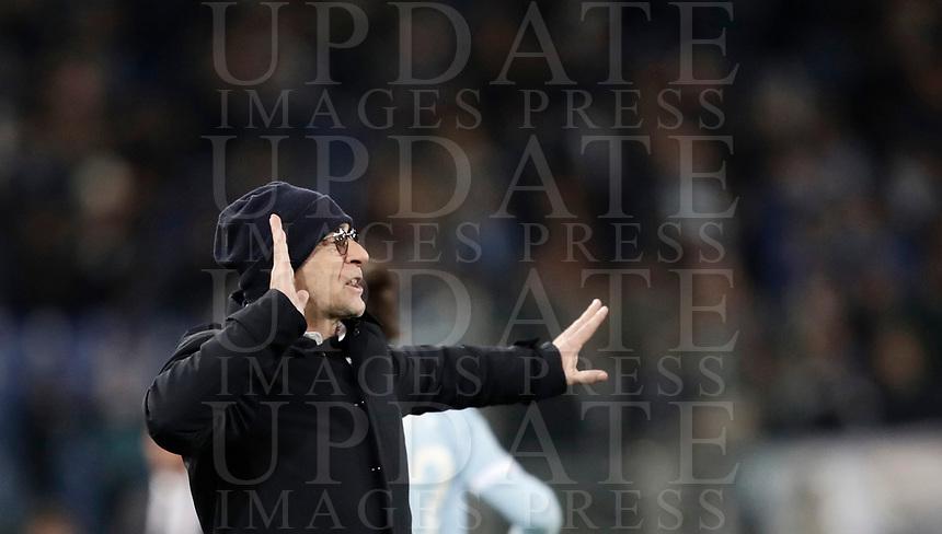 Calcio, Serie A: Lazio - Genoa, Roma, Stadio Olimpico, 5 Febbraio 2018. <br /> Genoa's coach Davide Ballardini speaks to his players during the Italian Serie A football match between Lazio and Genoa at Rome's Stadio Olimpico, February 5, 2018.<br /> UPDATE IMAGES PRESS/Isabella Bonotto
