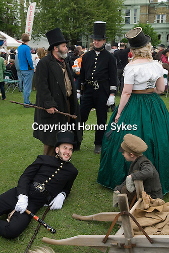 Charles Dickens Festival. Rochester Kent UK. Period costume, Men wearing Stovepipe top hats. 2012.