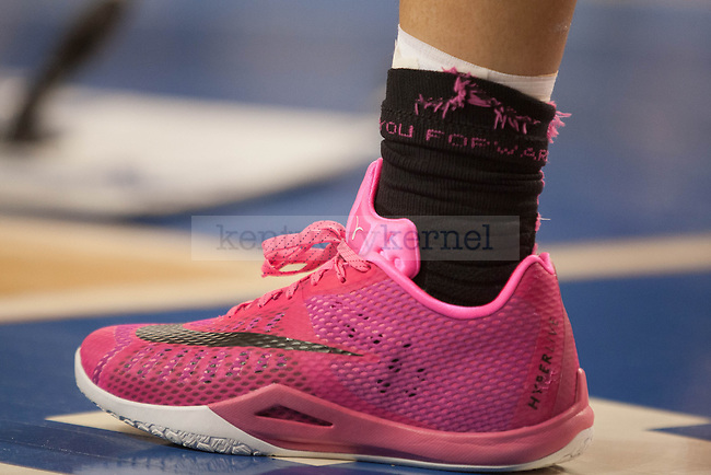 Kentucky wore special pink Nikes for pink day during the game against the Arkansas Razorbacks on Sunday, February 21, 2016 in Lexington, Ky. Kentucky won the game 77-63. Photo by Hunter Mitchell | Staff