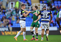 Ollie Devoto of Bath Rugby gets to know Chris Noakes of London Irish. Aviva Premiership match, between London Irish and Bath Rugby on November 7, 2015 at the Madejski Stadium in Reading, England. Photo by: Patrick Khachfe / Onside Images