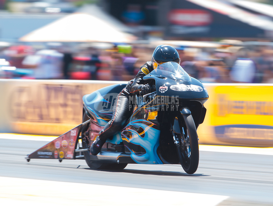 Jul 28, 2019; Sonoma, CA, USA; NHRA pro stock motorcycle rider Jianna Salinas during the Sonoma Nationals at Sonoma Raceway. Mandatory Credit: Mark J. Rebilas-USA TODAY Sports
