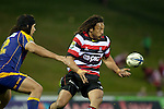Tana Umaga gets the pass away before Josh Tatupu can make the tackle. ITM Cup Round 1 game between the Counties Manukau Steelers and Otago, played at Bayer Growers Stadium, Pukekohe, on Saturday July 31st 2010. Counties Manukau Steelers won 29 - 13 after leading 22 - 6 at halftime.
