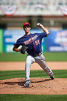 Minnesota Twins pitcher Taylor Rogers (55) during a Spring Training practice on March 1, 2016 at Hammond Stadium in Fort Myers, Florida.  (Mike Janes/Four Seam Images)