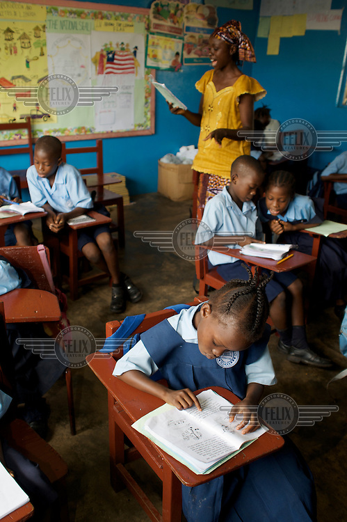 Teacher Satta Gbelee in her class in Monrovia.