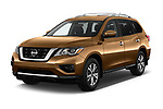 2018 Nissan Pathfinder S 5 Door SUV Angular Front stock photos of front three quarter view