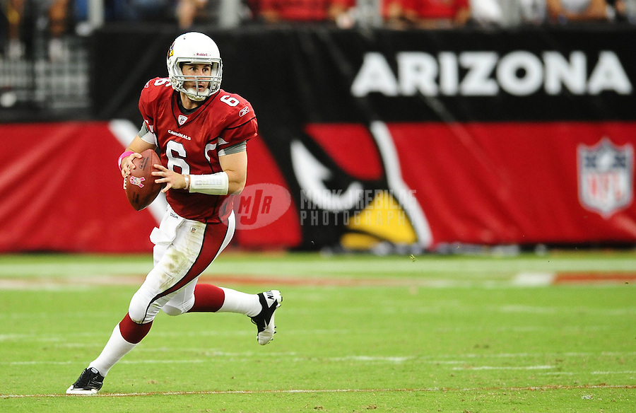 Oct. 10, 2010; Glendale, AZ, USA; Arizona Cardinals quarterback (6) Max Hall drops back to pass in the fourth quarter against the New Orleans Saints at University of Phoenix Stadium. The Cardinals defeated the Saints 30-20. Mandatory Credit: Mark J. Rebilas-