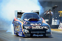 Apr. 13, 2012; Concord, NC, USA: NHRA funny car driver Tony Pedregon during qualifying for the Four Wide Nationals at zMax Dragway. Mandatory Credit: Mark J. Rebilas-
