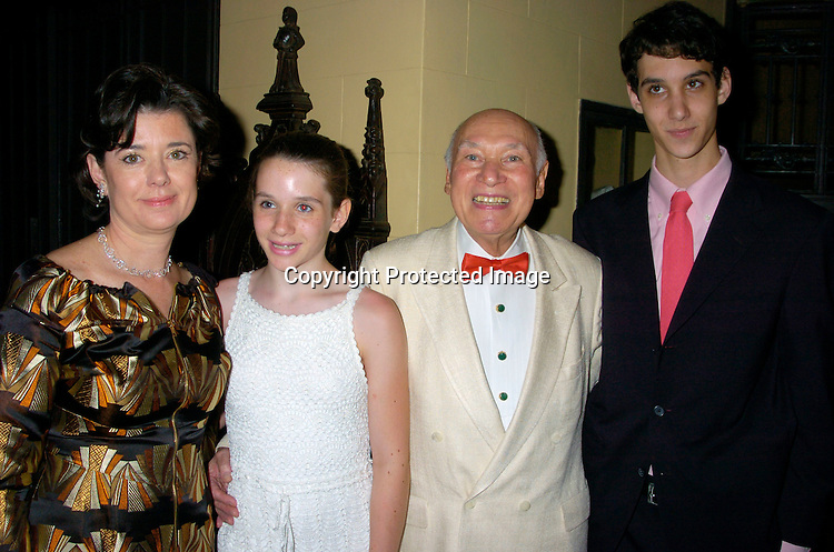 George Lang and family, Wife Jennifer, Gigi and son Simon ..at George Lang's 80th Birthday at Cafe des Artistes on ..June 15, 2004 in New York City. City Meals-on-..Wheels and City Harvest are benefiting from the evening. ..George Lang owns Cafe des Artistes. ..Photo by Robin Platzer, Twin Images