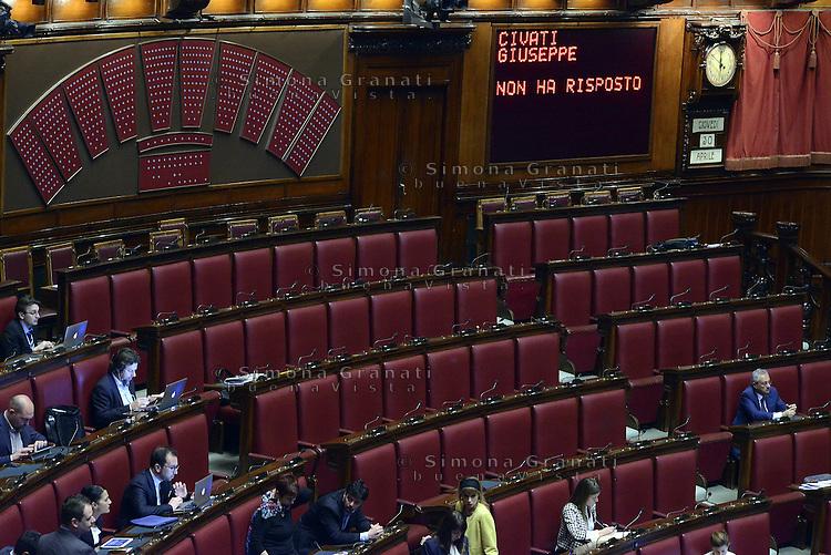 Roma, 30 Aprile 2015<br /> Giuseppe Civati non ha risposto<br /> Votata le seconda fiducia alla Legge elettorale