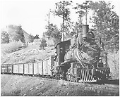 Pilot-end engineer's-side view of RGS #20 near Franklin Junction heading to Durango with a load of freight.<br /> RGS  Franklin Junction, CO  Taken by Duke, Donald