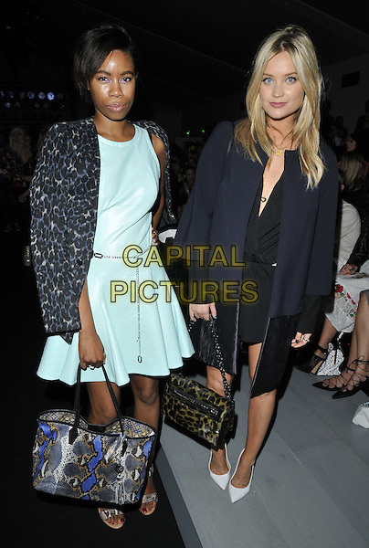 LONDON, ENGLAND - SEPTEMBER 12: Tolula Adeyemi &amp; Laura Whitmore attend the Felder Felder S/S15 catwalk show, LFW Day 1, BFC Showspace, Somerset House  the Strand, on Friday September 12, 2014 in London, England, UK. <br /> CAP/CAN<br /> &copy;Can Nguyen/Capital Pictures