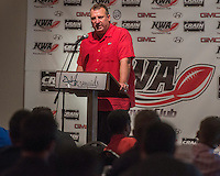 NWA Democrat-Gazette/ANTHONY REYES &bull; @NWATONYR<br /> Bret Bielema, head football coach at the University of Arkansas, speaks Wednesday, Aug. 26, 2015 during the NWA Touchdown Club at Mermaids restaurant in Fayetteville. Bielema spoke about a few of the players, his hopes for the season and took a few questions from the audience.