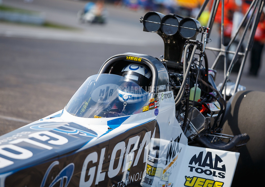 Aug 19, 2017; Brainerd, MN, USA; NHRA top fuel driver Shawn Langdon during qualifying for the Lucas Oil Nationals at Brainerd International Raceway. Mandatory Credit: Mark J. Rebilas-USA TODAY Sports