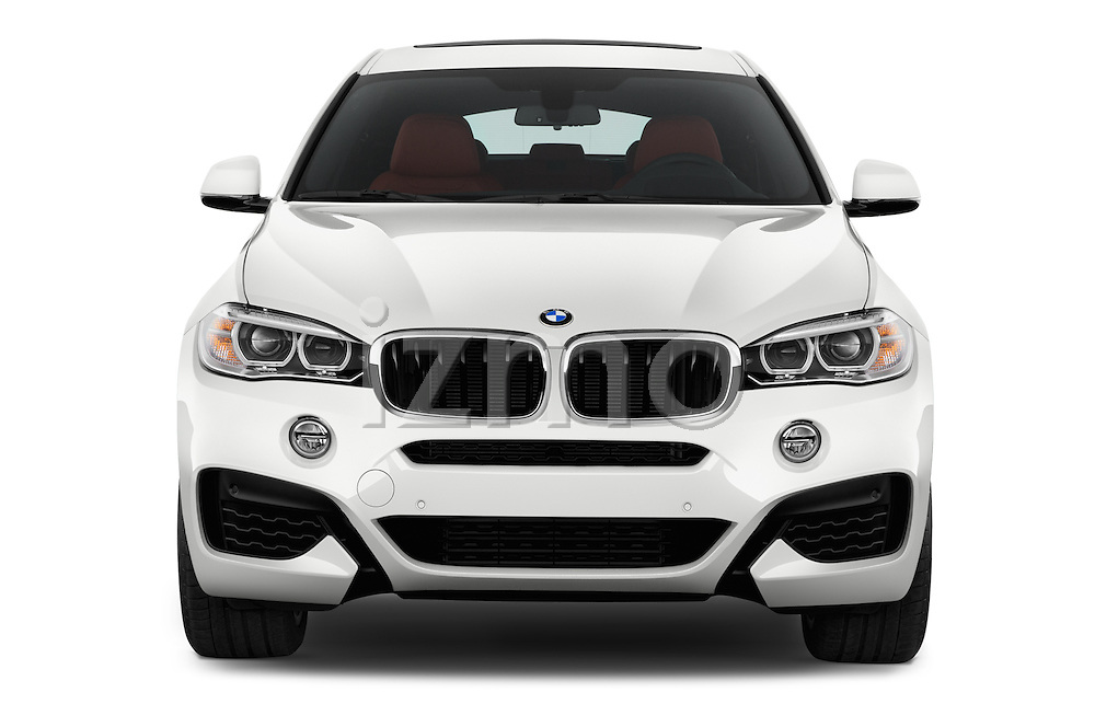 Car photography straight front view of a 2017 BMW X6 sDrive35i 5 Door SUV Front View