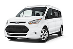 Stock pictures of low aggressive front three quarter view of 2016 Ford Transit-Connect XLT-LWB 5 Door mini MPV Low Aggressive