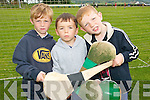 TOP STARS: Young hurlers from Renard enjoying the Kerry VGAA VHI Cul Hurling Camp in Renard on Thursday last..L/r.Jack Driscoll, Jack Kelly and Stephen Corcoran.   Copyright Kerry's Eye 2008