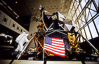The Eagle lunar lander and Niel Armstrong in smithsonean museum in Washington DC, USA
