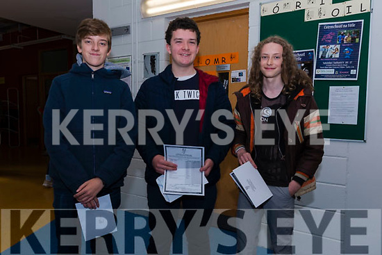 Pobalscoil Corcha Dhuibhne students Conor Ó Murchú, Padraig Ó hAiniféin and Patrick Ó Coileain receiving their Junior certificate results on Wednesday last.