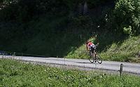 solo race leader Tony Gallopin (FRA/Lotto-Soudal) speeding along<br /> <br /> 69th Crit&eacute;rium du Dauphin&eacute; 2017<br /> Stage 8: Albertville &gt; Plateau de Solaison (115km)