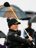 Lydia Ko plays in the rain on the first. McKayson NZ Women's Golf Open, Round Four, Windross Farm Golf Course, Manukau, Auckland, New Zealand, Sunday 1st October 2017.  Photo: Simon Watts/www.bwmedia.co.nz