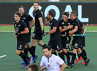 Blacksticks celebrate a goal. Pro League Hockey, Vantage Blacksticks v Belgium. Harbour Hockey Stadium, Auckland, New Zealand. Friday 1st February 2019. Photo: Simon Watts/Hockey NZ