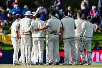 Black caps celebrates the wicket of James Vince of England during Day 3 of the Second International Cricket Test match, New Zealand V England, Hagley Oval, Christchurch, New Zealand, 1st April 2018.Copyright photo: John Davidson / www.photosport.nz