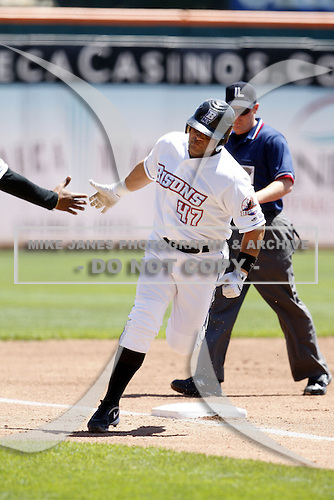 May 21, 2009:  First Baseman Javier Valentin of the Buffalo Bisons, International League Triple-A affiliate of the New York Mets, rounds the bases after a home run during a game at Coca-Cola Field in Buffalo, NY.  Photo by:  Mike Janes/Four Seam Images