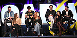 Matthew Hydzik, Micaela Diamond, Michael Campayno, Teal Wicks, Michael Berresse, Stephanie J. Block and Jarrod Spector on stage during Broadwaycon at New York Hilton Midtown on January 11, 2019 in New York City.