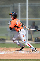 Outfielder Mike Yastrzemski (11) of the Baltimore Orioles organization during a minor league spring training game against the Minnesota Twins on March 20, 2014 at Buck O'Neil Complex in Sarasota, Florida.  (Mike Janes/Four Seam Images)
