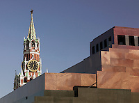 Spasskaya Tower with Lenin's Mausoleum in the foreground, Red Square, Moscow, Russia
