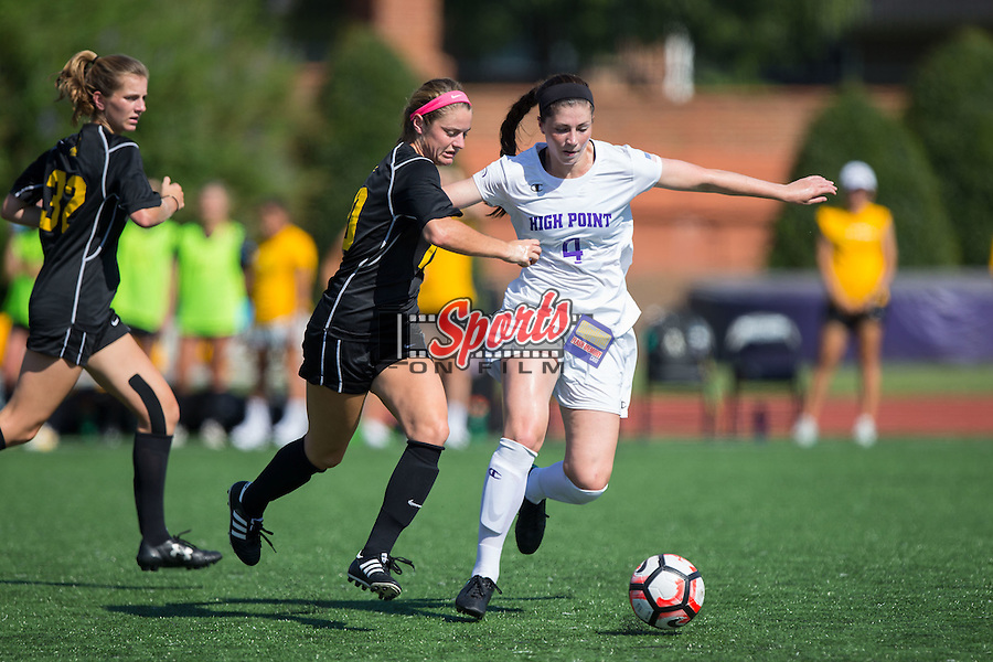 Taylor Romano (4) of the High Point Panthers steals the ball from Jane Cline (10) of the Appalachian State Mountaineers during first half action at Vert Track, Soccer & Lacrosse Stadium on August 26, 2016 in High Point, North Carolina.  The Panthers defeated the Mountaineers 2-0.  (Brian Westerholt/Sports On Film)