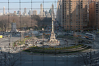 A view of Columbus Circle from inside the Time Warner Center in New York City, New York