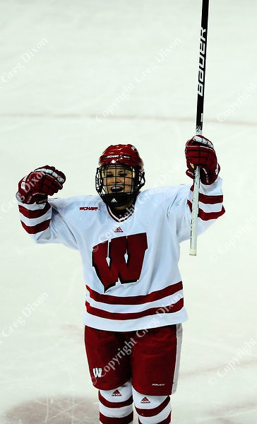 Meghan Duggan celebrates a third period goal, as Wisconsin women's hockey team tops Minnesota-Duluth 2-1 to advance to the Frozen Four on Saturday, 3/12/11, at the Kohl Center in Madison, Wisconsin