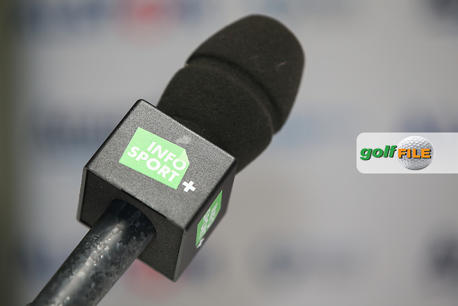 Microphone close-up during the Media Interviews ahead of the Alstom Open de France from Le Golf National, Guyancourt, Versailles, France. Picture:  David Lloyd / www.golffile.ie