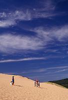 AJ2793, Sleeping Bear Dunes, sand dune, Michigan, People walking down the steep towering sand dune (a perched dune) at Sleeping Bear Dunes National Lakeshore in the state of Michigan.