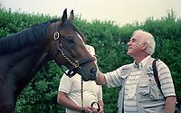 Horse racing; racehorse; Thoroughbred; racetrack, A.P. Indy, champion racehorse and sire, Tony Leonard, famous photographer, Belmont Stakes, Belmont Park