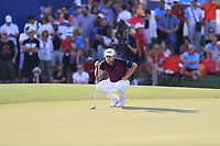 Terrell Hatton (ENG) on the 18th green during Round 4 of the DP World Tour Championship 2017, at Jumeirah Golf Estates, Dubai, United Arab Emirates. 19/11/2017<br /> Picture: Golffile | Thos Caffrey<br /> <br /> <br /> All photo usage must carry mandatory copyright credit     (© Golffile | Thos Caffrey)