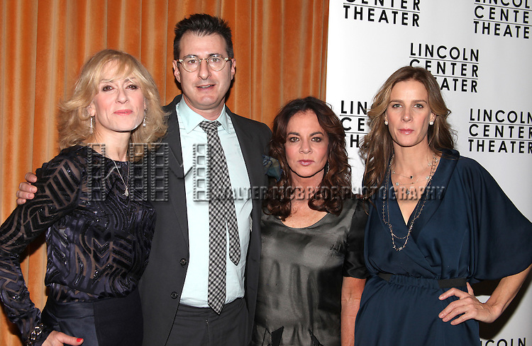 (L-R) Judith Light, playwright Jon Robin Baitz, Stockard Channing, and Rachel Griffiths.attending the Opening Night After Party for the Lincoln Center Production of 'Other Desert Cities' at the Marquis Hotel in New York City.
